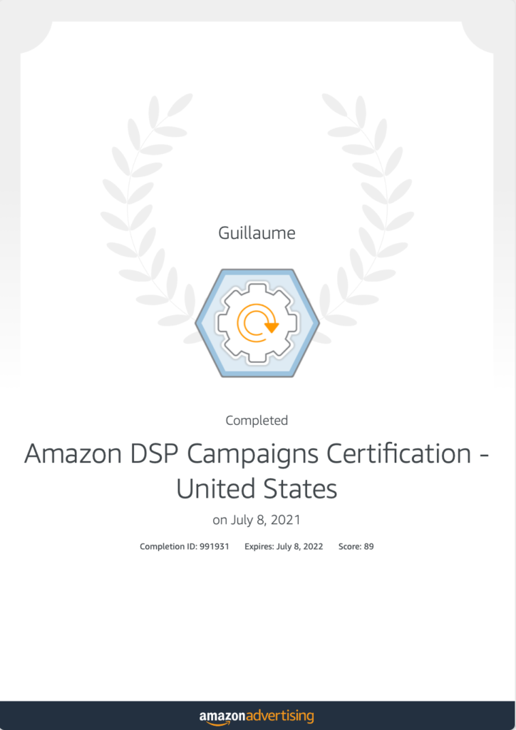 Certification Amazon DSP